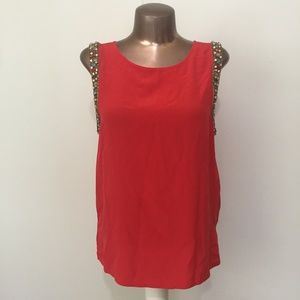 HAUTE HIPPIE 100% Silk Red Embellished Blouse